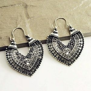 5 for $25 Boho Retro Heart Statement Earrings